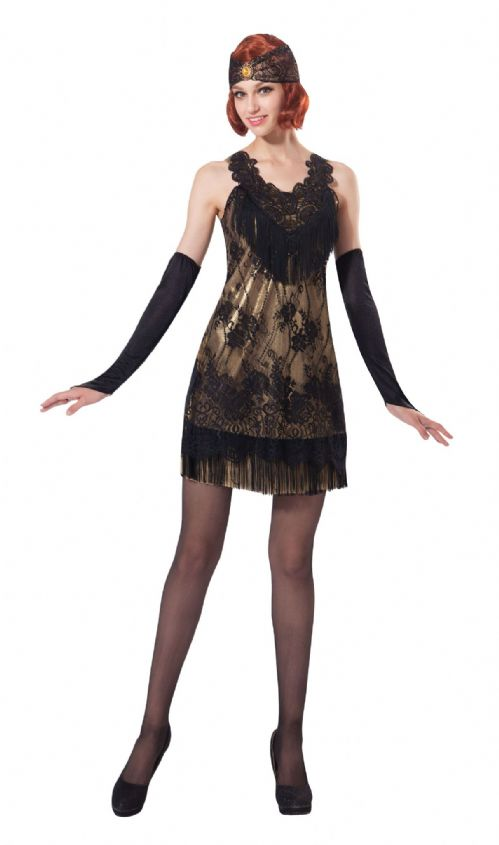 Ladies Flapper Black/Gold Lace Costume 20s 30s Gangsters Moll Fancy Dress Outfit